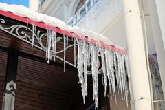 Icicles on the roof Stock Photography