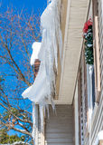 Icicles on roof Stock Photo