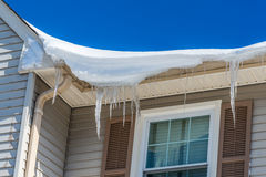 Icicles on roof Royalty Free Stock Image