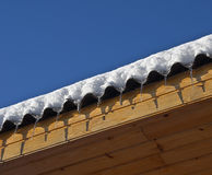 Icicles on roof Royalty Free Stock Images