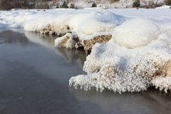 Icicles on a sandy riverbank on the freezing river in autumn. Ob Reservoir, Siberia, Russia Royalty Free Stock Photo