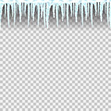 Icicles seamless pattern. Icicles transparent seamless pattern. Winter background illustration. Flat  image. Blue and white template. Ice and snow. New year and Royalty Free Stock Photography