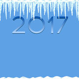Icicles seamless pattern. Winter background illustration. Flat  image. Year 2017. Blue and white template. Ice and snow. New year and Christmas Royalty Free Stock Photos