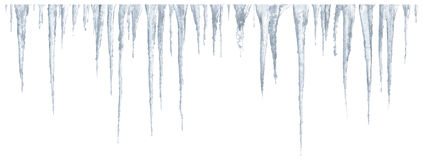 Icicles set on white background stock photography