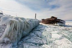 Icicles on the shore of Lake Baikal. Stock Photo