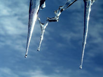 Icicles. simple as that. Spring is coming stock photo