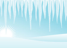 Icicles and snowdrifts. Stock Images