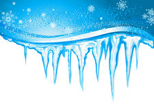 Icicles and snowflakes. Winter background with icicles and snowflakes Royalty Free Stock Photo