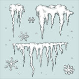 Icicles and snowflakes. Winter theme. Royalty Free Stock Photos