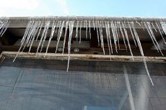 Icicles. Some icicles on a roof Stock Photography