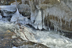 Icicles and stream 2 Royalty Free Stock Photos