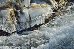 Icicles and stream Royalty Free Stock Photos