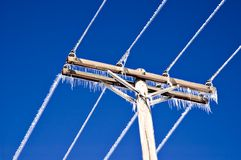 Icicles on Telephone Wires and Pole Royalty Free Stock Photo