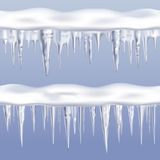 Icicles Tileable Borders Set. On blue background realistic  vector illustration Stock Photos