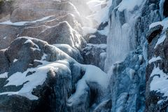 Icicles on Timberline Falls waterfall Royalty Free Stock Image