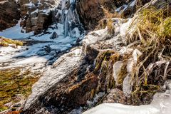 Icicles on Timberline Falls waterfall Royalty Free Stock Images