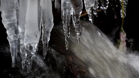 Icicles on the water. stock footage