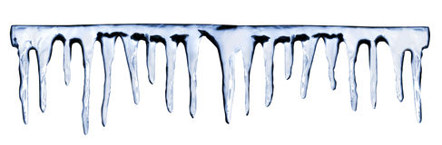 Icicles on white background Stock Photos