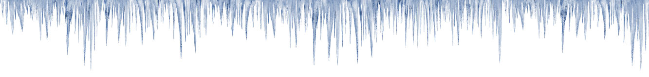 Icicles on white 1 meter long in print size Royalty Free Stock Photo