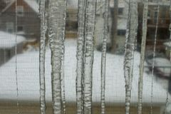Icicles on Window Royalty Free Stock Photos