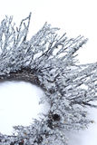 Icicles on wreath. A close up of icicles or frost on a natural branch wreath Stock Images