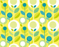 Icid yellow 60s floral retro pattern. Geometry decorative style vintage flower seamless motif. vector illustration Royalty Free Stock Images