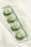 Icing  Macarons. This is matcha  macarons ,delicious teatime Royalty Free Stock Image