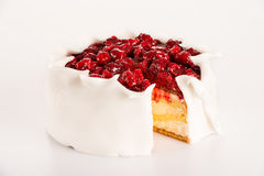 Icing raspberry cake sugar dessert red berries Stock Photography