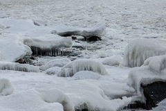 Icing sea. Outside was cold -15degress in Latvia, bolderaja breakwater Stock Images