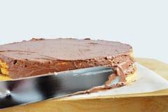 Icing a sponge cake Royalty Free Stock Photo