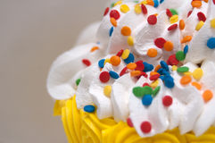 Icing and Sprinkles on Birthday Cake Stock Photos