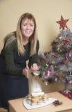 Icing sugar and mince pies at Christmas Stock Photos