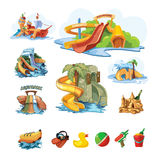 Icion set of Water slides in an aquapark Stock Image