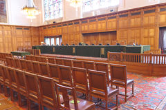 ICJ Courtroom International Court of Justice. Great Hall, Courtroom of Justice of the International Court of Justice, principal organ of the United Nations room Royalty Free Stock Photo