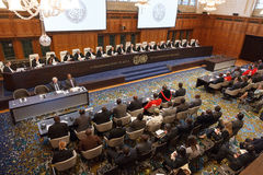 ICJ Public Hearings. THE HAGUE 16 April 2013 - International Court of Justice is held a public hearing on the frontier dispute between Cambodia and Thailand in a Stock Photography