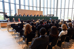 ICJ Rendering Decision at Academy Auditorium royalty free stock images