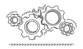 Icke-arbete kugghjul Bruten mekanism med en skiftnyckelvektorillustration Fastklämd mekanism vektor illustrationer