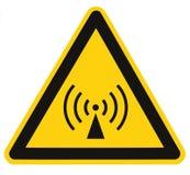 Icke-joniserande område för säkerhet för utstrålningsfara, etikett för klistermärke för faravarningstecken, stor symbolssignage,  arkivfoton