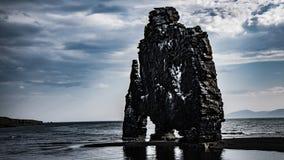 Hvitserkur on Iceland - monumental rock amazingly shaped stock photography