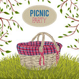 Icnic basket in meadow with grass and tree branches. Isolated elements. Design concept for picnic or barbecue party. Summer vacation. Hand drawn vector Stock Photography