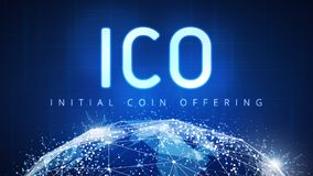 ICO最初硬币提供的横幅 库存例证