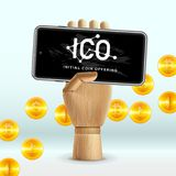ICO标注姓名起首字母在智能手机设备,传染媒介例证屏幕上的硬币提供的企业互联网技术概念  库存图片