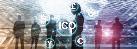 ICO - Αρχική προσφορά νομισμάτων, έννοια Blockchain και cryptocurrency στο θολωμένο υπόβαθρο επιχειρησιακής οικοδόμησης ελεύθερη απεικόνιση δικαιώματος