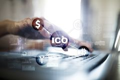 ICO, αρχική προσφορά νομισμάτων Ψηφιακή ηλεκτρονική δυαδική οικονομική έννοια χρημάτων Ανταλλαγή νομίσματος Bitcoin απεικόνιση αποθεμάτων