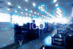 ICO - Начальный предлагать монетки, концепция Blockchain и cryptocurrency на запачканной предпосылке организации бизнеса Стоковые Изображения RF