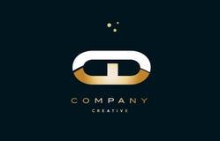 ico логотипа письма алфавита желтого золота c d компактного диска белое золотое роскошное Стоковые Изображения