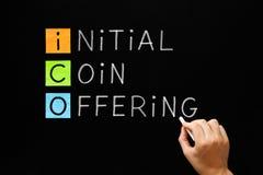 ICO -最初硬币提供 库存图片