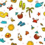 我爱夏天 与手拉的海滩ico的无缝的夏天样式 库存图片