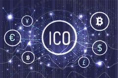 Ico Bitcoin и соединенные валюты установило вектор бесплатная иллюстрация