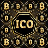 ICO and Bitcoin conceptual design Royalty Free Stock Images